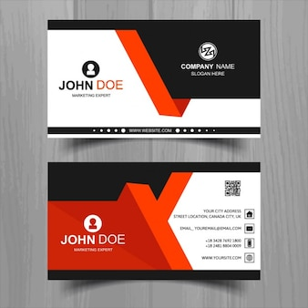 Modern business card with red and black geometric shapes
