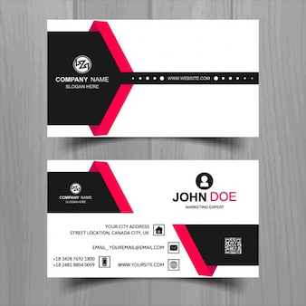 Modern business card with red and black shapes