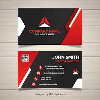 Modern business card with red shapes