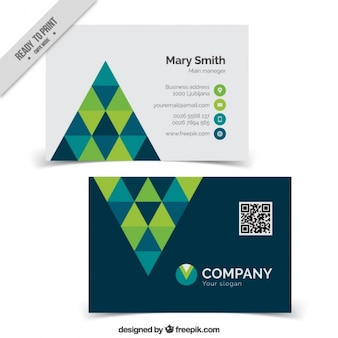 Modern business card with triangles design