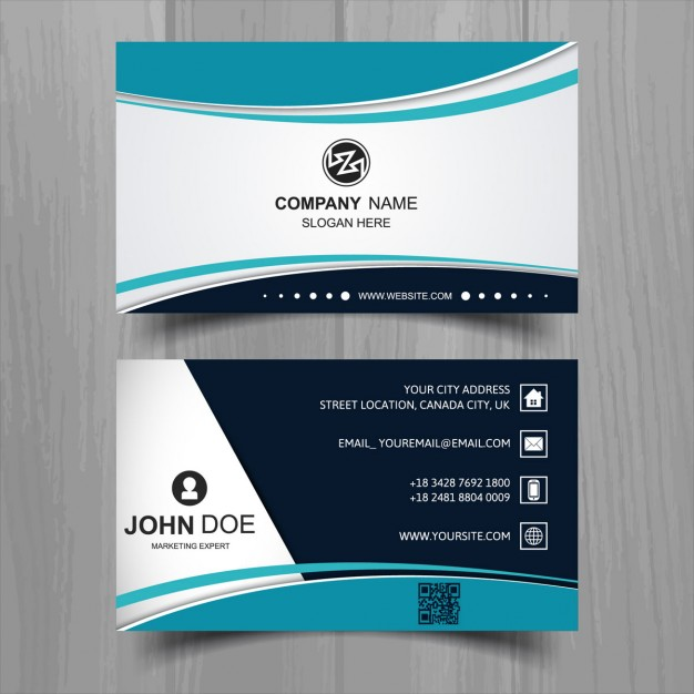 Modern business card with turquoise wavy shapes