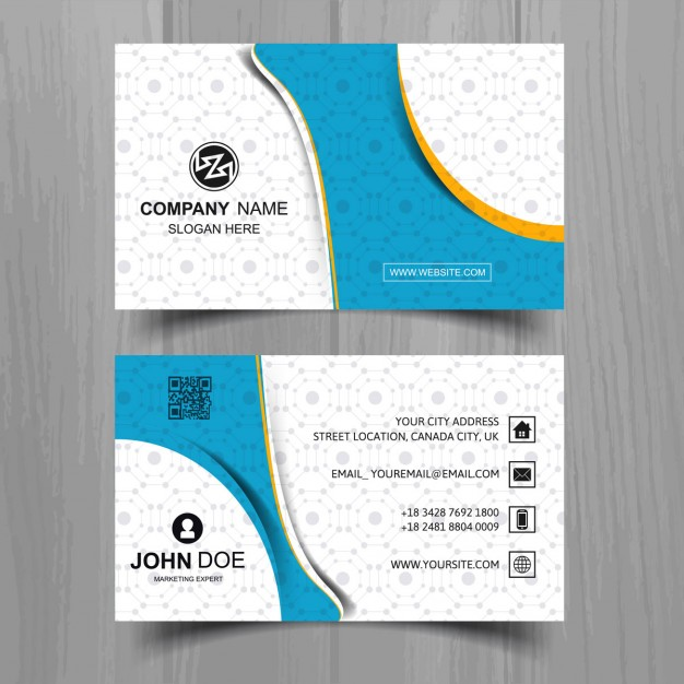Modern business card with wavy shapes and pattern
