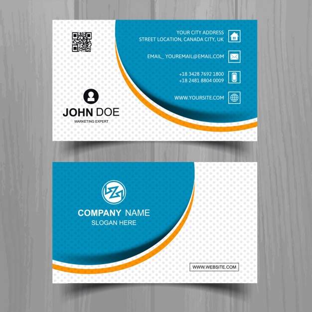 Modern business card with wavy shapes