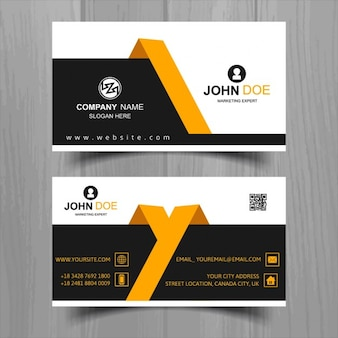 Modern business card with yellow and black geometric shapes