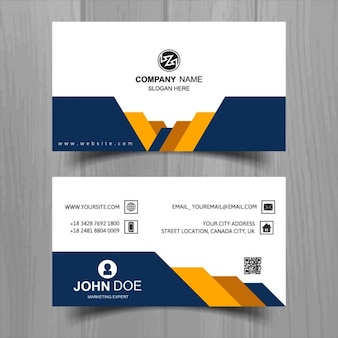 Modern business card with yellow and blue geometric shapes