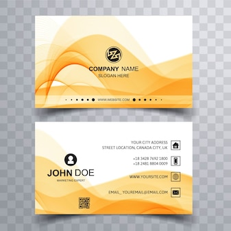 Modern business card with yellow wavy shapes