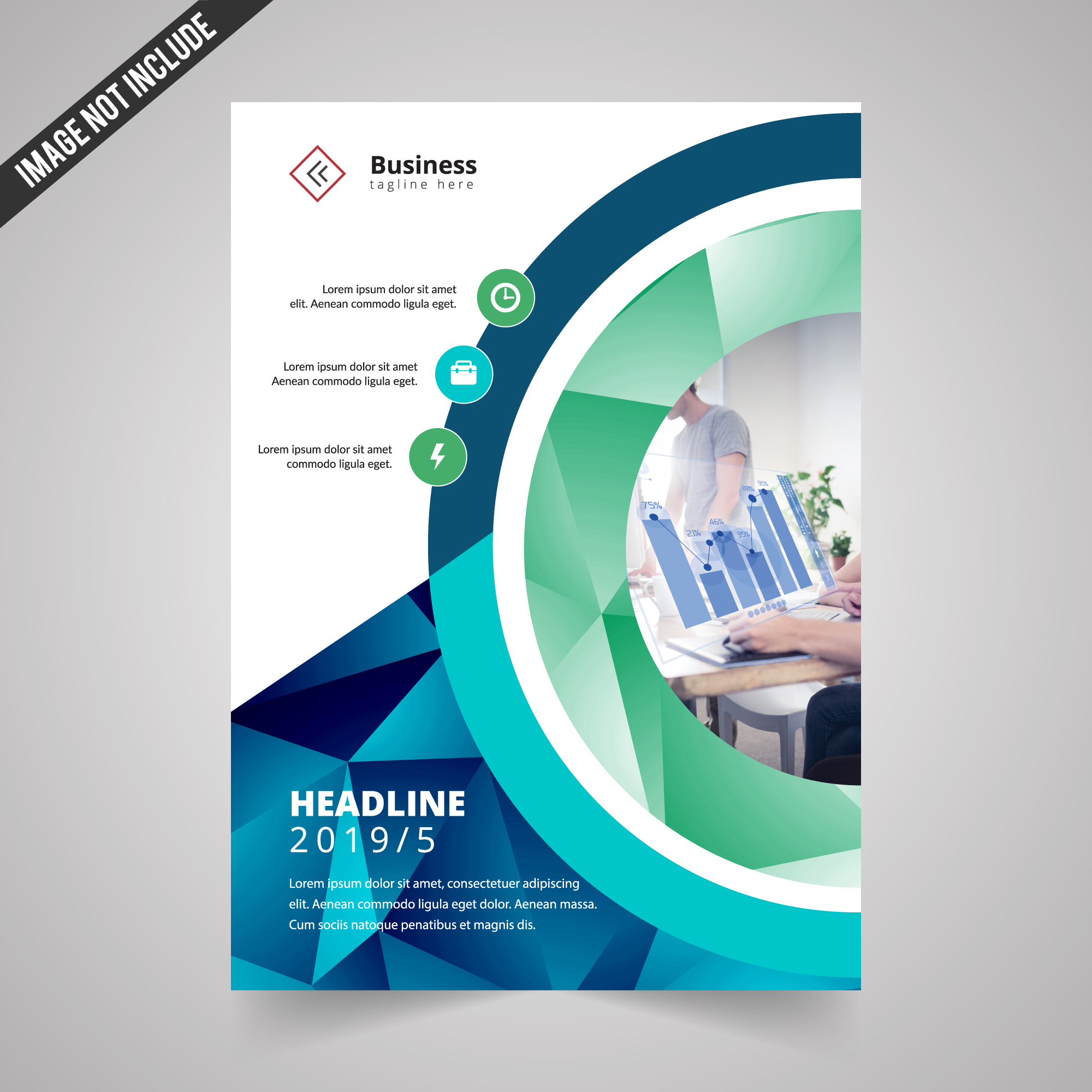 Modern business flyer with geometric details