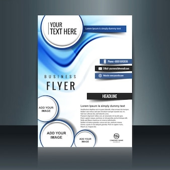 Modern business flyer with waves and circles