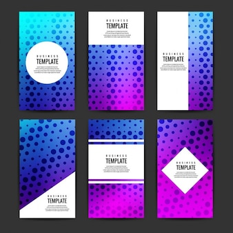 Modern business flyers set with dots