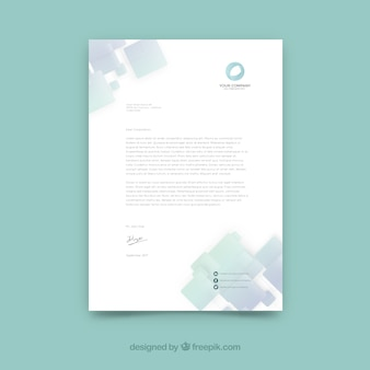 Modern business letterhead with square