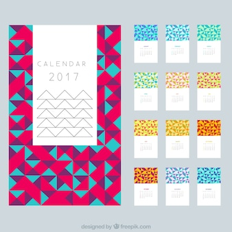 Modern calendar 2017 in polygonal design
