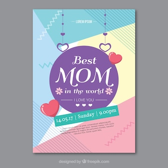 Modern card with abstract shapes for mother's day
