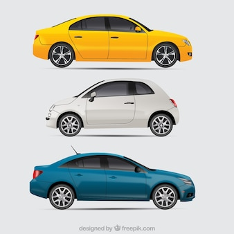 Modern cars with realistic style