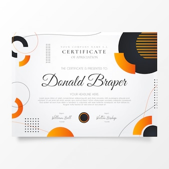 Modern certificate of appreciation with memphis shapes