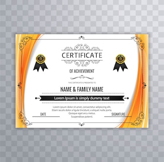 Modern certificate design with orange borders