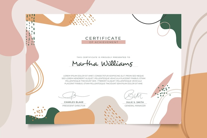 Modern certificate template memphis style