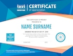 Modern certificate with blue polygonal background design template