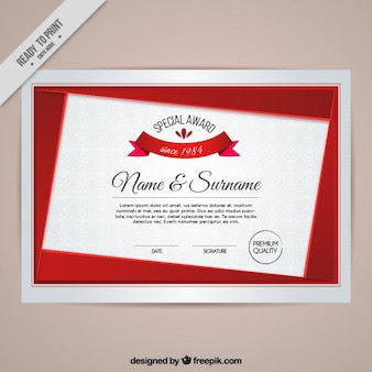 Modern certificate with red details