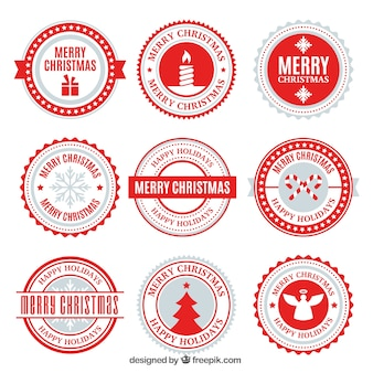 Modern christmas badge collection