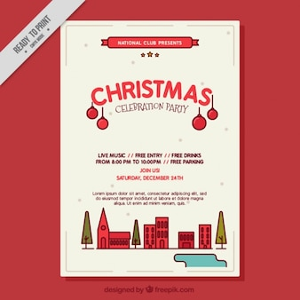 Modern christmas party celebration poster