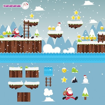 Modern Christmas Santa Adventure Game User Interface and Assets