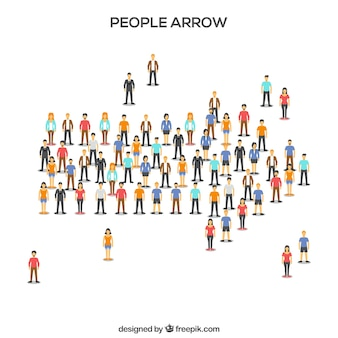 Modern citizens forming an arrow