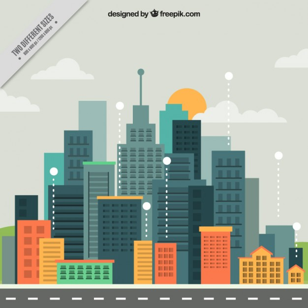 Modern city in flat design background