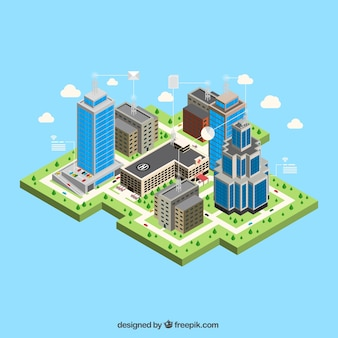 Modern city with isometric buildings