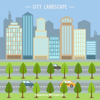 Modern city with skyscrapers in flat design background