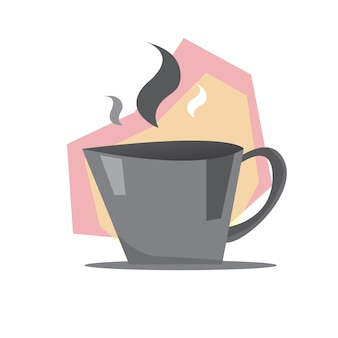 Modern coffee illustration with hot steam
