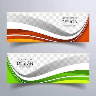 Modern colorful wavy banners