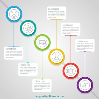 Modern company time line with circles
