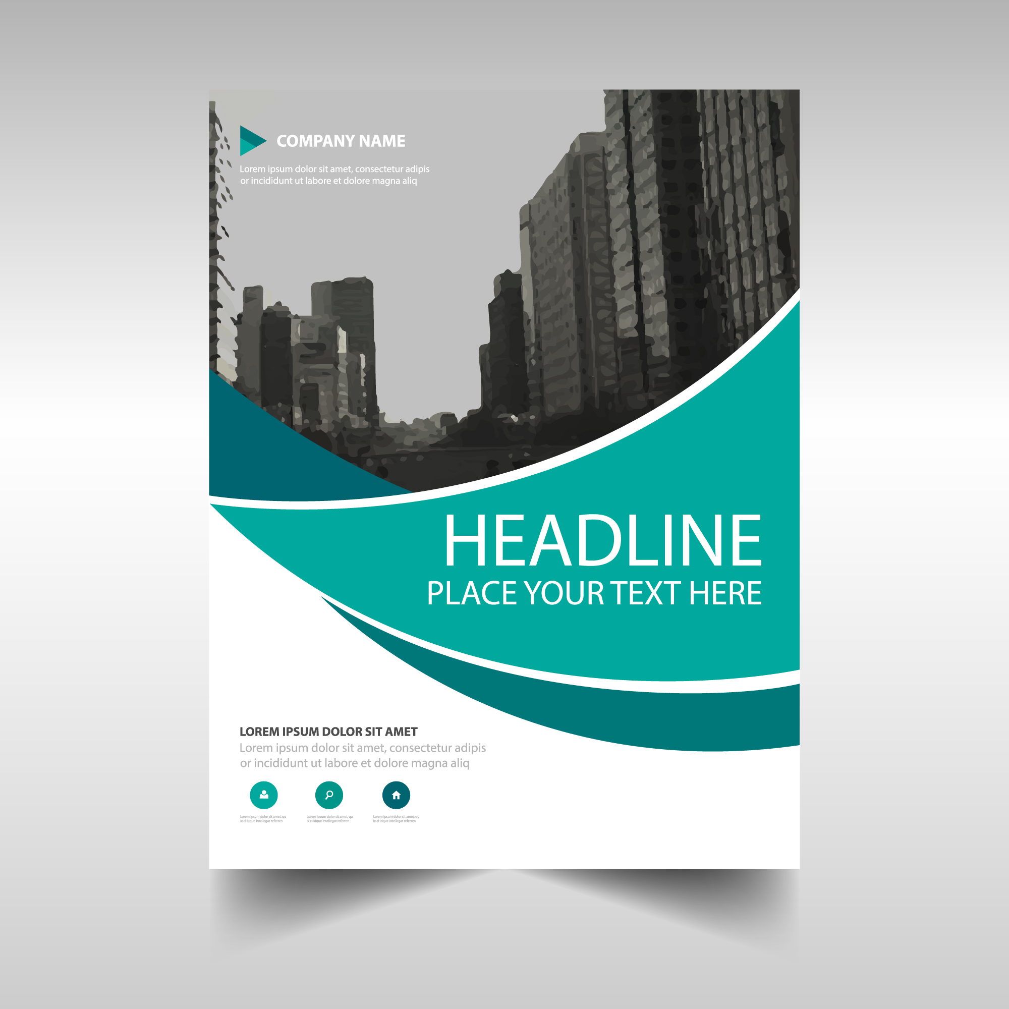 Modern corporate brochure with wavy shapes