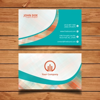 Modern corporate card template with wavy and polygonal shapes