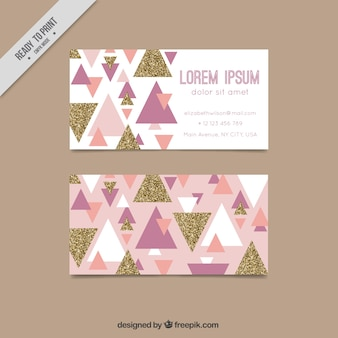 Modern corporate card with triangles