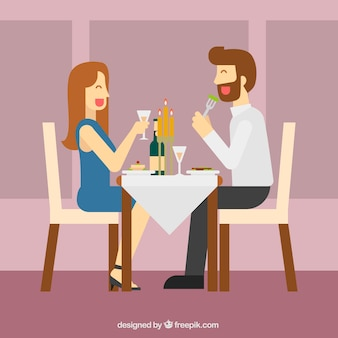 Modern couple having dinner in elegant restaurant