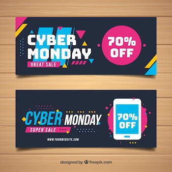 Modern cyber monday banners
