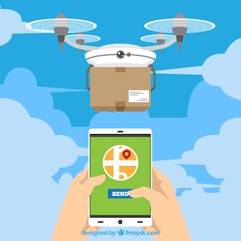 Modern delivery drone and smartphone
