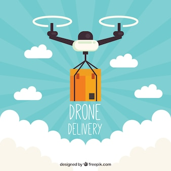 Modern delivery drone with flat design