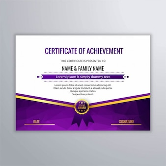 Modern diploma in purple color