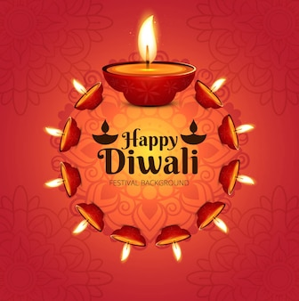 Modern diwali background with many candles