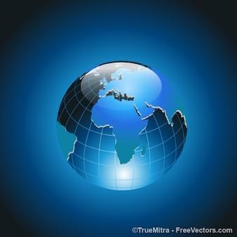 Modern earth icon on blue