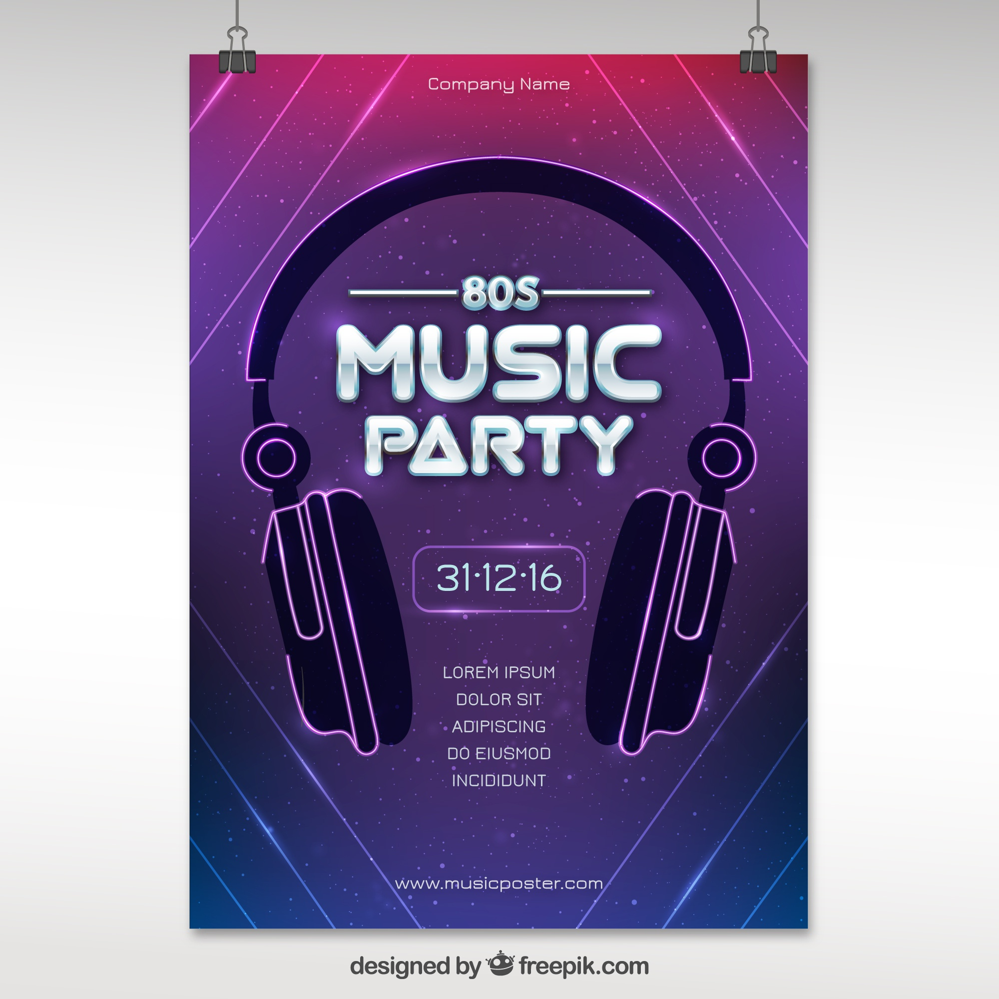 Modern eighties party poster with headphones