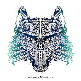 Modern ethnic wolf head