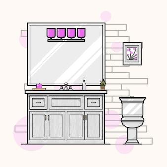 Modern flat bathroom illustration