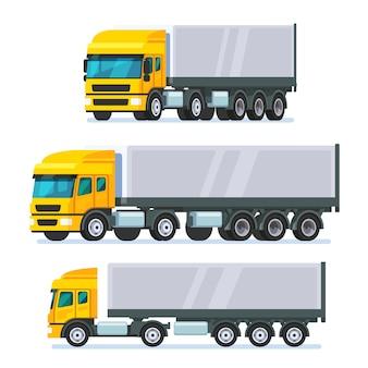 Modern flat nose articulated lorry truck