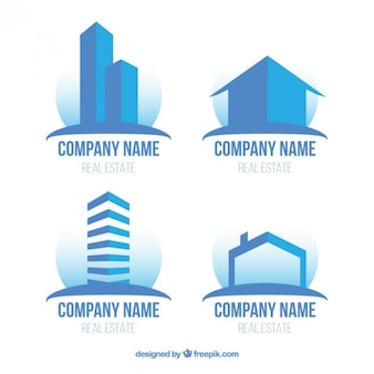 Modern flat real estate logos in blue color