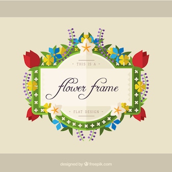 Modern floral frame with colorful style
