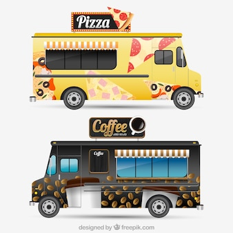 Modern food trucks with realistic desing