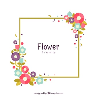 Modern frame with colorful flat flowers